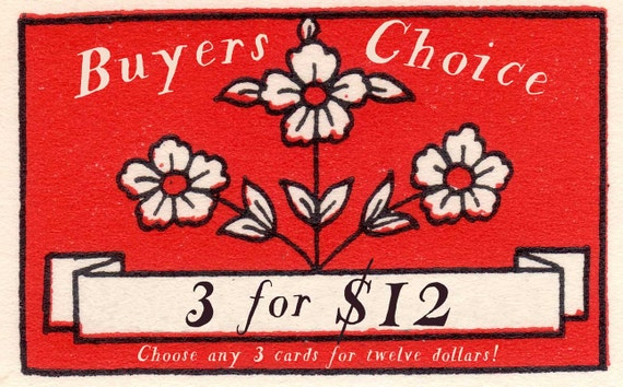 Buy any 3 cards for 12 dollars