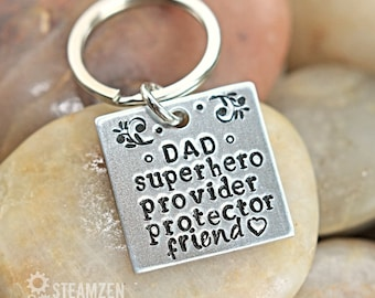 Tribute to Dad Personalized Key chain - Customized Gift for Dad - Superhero Dad - New Dad Gift - Father's Day Gift - Grandpa Gift