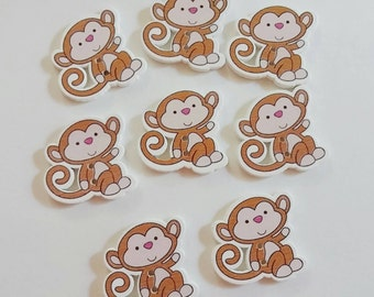 Wooden Monkey Buttons x 8