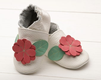 Baby shoes, Leather baby shoes Soft sole toddler shoes, Boys', Baby moccasins leather Girls', Infant shoes, Newborn shoes, White, Red Flower