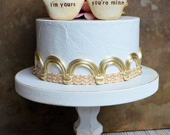 Wedding cake toppers / i'm yours, you're mine birds / rustic handmade bride and groom topper birds for your wedding cake decor