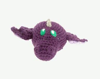 Purple Dragon Stuffed Animal - Mini Dragon - Hatchling - Purple w Purple Wings - Plush Toy - Machine Washable - Baby Shower Gift - Unisex