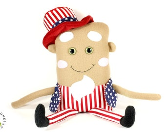 Uncle Sam Doll, Patriotic Plush Toy, Fourth of July Gift, Independence Day Plushie, Rag Doll, Americana Decor, Patriotic Kids Room Decor