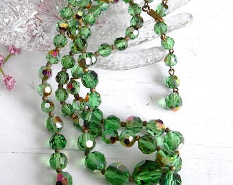 Vintage Green Crystal Necklace, Green Aurora Borealis Crystal Double Strand Necklace, Multi Strand Necklace, Vintage Jewelry, AB Necklace