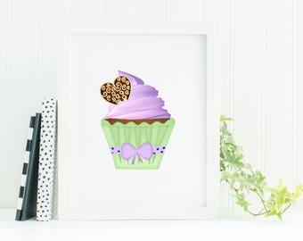 Printable Cupcake Poster, Nursery Print, Digital Print, Cake, Kitchen Printable, Cupcake Print, Frosting, Baby Room Art, Nursery Art, Poster