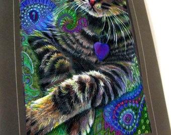 greeting card print of original art-  tabby cat  Zentangle