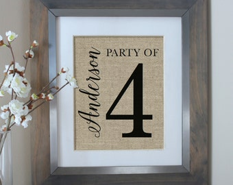 Party of 4 Sign, Party of Family Sign, Gallery Wall Decor, Family Number Sign, Personalized Housewarming Gift, Pregnancy Announcement