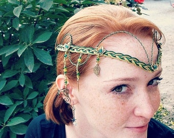 Emerald Celtic Irish Wedding Circlet Tiara the Galadriel
