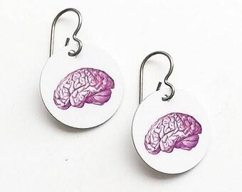 Brain Earrings medical student gift neurology neurlogist doctor nurse practitioner physician assistant school anatomy jewelry graduation md