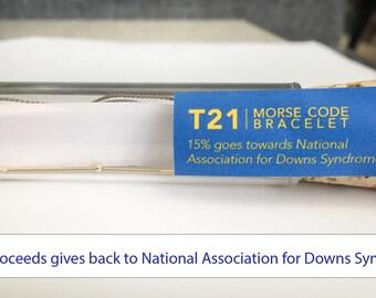 Down Syndrome Bracelet, Down Syndrome, T21 Down Syndrome, Down Syndrome Jewelry, Down Syndrome T21, T21 Bracelet, Morse Code T21