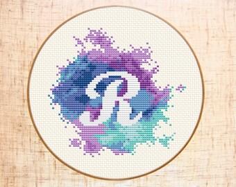 Letter R cross stitch pattern Modern cross stitch Watercolor xstitch Monogram embroidery pattern Initial Counted cross stitch chart PDF