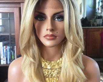 Free Shipping - French Lace Front Wig - 100% Human Blend - Ombre Sandy Blonde - Layered - Straight Styled