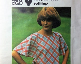 Vintage Sewing Pattern 1970's Pullover Soft Top Sew & Go One Piece Bias Size Medium  Uncut