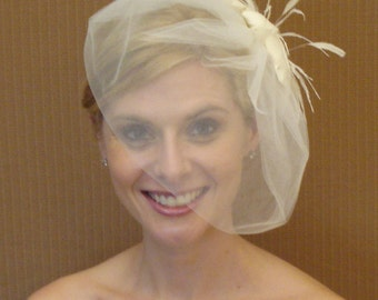 Tulle Birdcage Bubble Veil in Light Ivory, Off-White, White, Blush, Champagne, Black - READY TO SHIP in 3-5 Business Days