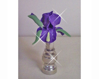 Iris Lamp Finial  Hand Crafted in Custom Colors