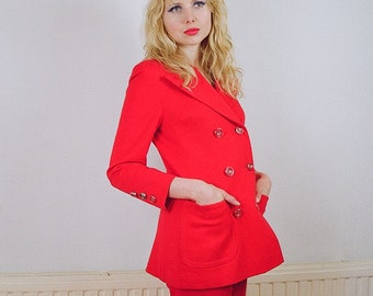 1960s vintage red double breasted blazer jacket