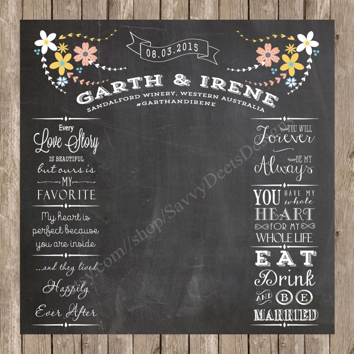 Wedding Photo Backdrop Chalkboard Printable Complete Custom
