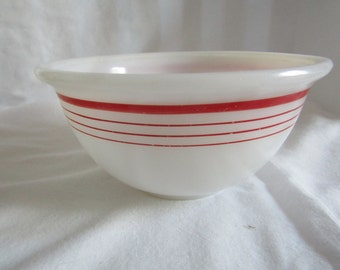 Vintage 1940's White Milk Glass Nesting Mixing Bowl Red Rings Stripes ~ Rare