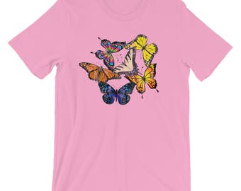 Butterfly T shirt-Colorful Butterfly-Butterflies Shirt-Grandma T shirt-Butterflies Tee-Butterfly Gifts-Butterfly Shirt-Women's Butterfly Tee