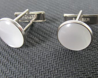 Vintage Cuff links signed Pioneer, pearl and silver tone color