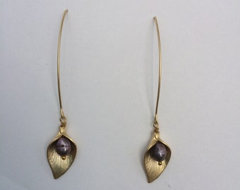 Matte Brushed Gold Lily Earrings