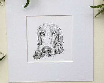 Weimaraner dog drawing, 6x6 original mounted drawing, Weimaraner art, Weimaraner picture, Weimaraner love, Weimaraner gift, Weimaraner dog,