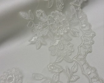 Ivory Lace Trimming by the yard, French Lace, Alencon Lace, Bridal Gown lace, Wedding Lace, White Lace, Veil lace, Garter lace KSBL81249C