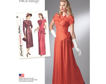 OUT of PRINT Simplicity Pattern 8249 Misses' Vintage 1940's Gown and Dress
