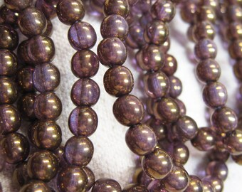30 Transparent Purple Bronze Picasso Czech Pressed Glass Round Druk Beads 6mm
