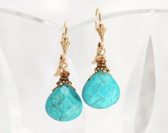 Turquoise earrings   Aqua Howlite earrings   Gift for Her   Dyed Howlite earrings   Aqua earrings   Turquoise and Gold earrings