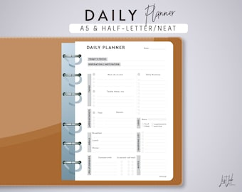 A5 DAILY PLANNER (A5 and Half-letter Printable Planner Insert - Neat Theme) Printable PDF - fits Filofax A5, Kikki K Large