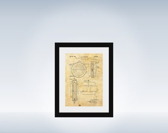 Cyclotron US Patent 1932 print - recovered scientific image - particle physics educational print art