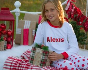 Personalized Christmas Pajamas- Red and White Polka Dot Pj's with Name-PJ- Kids Pajamas-Monogramed Pajamas-Christmas Childrens Pajamas- Kids