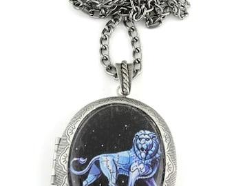 Leo Locket & Gift bag, Astrology Locket, Necklace, Leo Necklace, Zodiac Jewellery, Locket, Star Sign, Jewellery, Jewelry, Zodiac locket