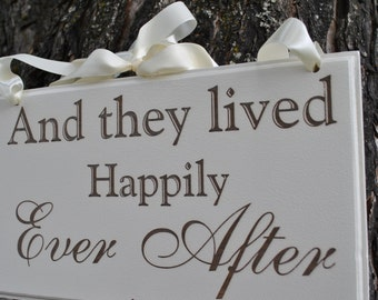 """Wedding Sign,Double Sided  """"Here Comes the Bride"""" & """"And They Lived Happily Ever After""""Wedding Photo Prop,  Wedding Sign,  Laser Engraved."""