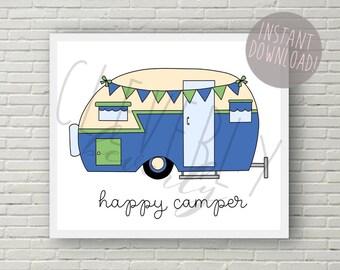 Happy Camper | 8x10inch printable digital download | Camper Trailer Decor