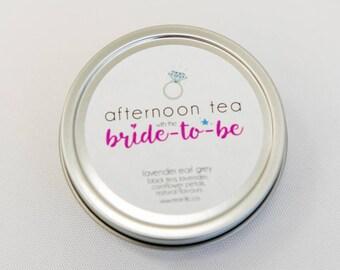 Shower Favor - Afternoon Tea with Bride-To-Be - Wedding Shower Favour - Tea Tin Bridal Favour - Engagement Favor - Bridal Shower Gift