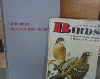 Vintage Bird Guides Audubon Western Bird Guide 1957 & Birds A Golden Nature Book 1956 Color Illustrations Set of 2