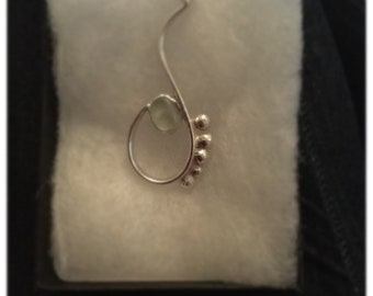 Aqua seaglass on silver wire with bobble detail