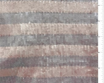 Blush/Grey Sequin Stripe Tulle, Fabric By The Yard