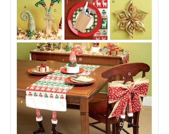 Sewing Pattern for Christmas Table Runners, Decorations, Chair Back Cover and Silverware Holder, McCall's Pattern 7524, DIY Christmas, NEW