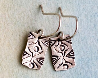 Bursting Rays- sterling silver earrings