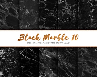 Black marble digital paper 10 pack, Black marble paper, Marble paper, Marble print, marble background, Marble printable paper, Marble Art