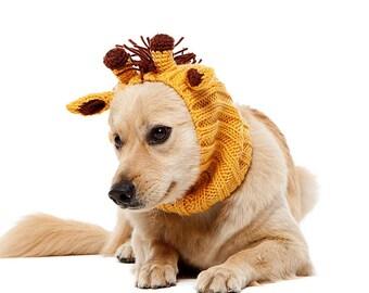 Giraffe Dog Snood | Knit Crochet Dog Hat | Dog Costume | Winter Scarf | Ear Warmer