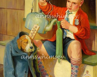"Boy's Room Art ~ Sick Dog ""Doctor Boy"" Uses Every Remedy Possible   #68"