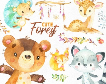 Cute Forest. Watercolor little animals clipart, squirrel, deer, raccoon, bear, hedgehog, feather, floral, cards, babyshower, woodland, cft