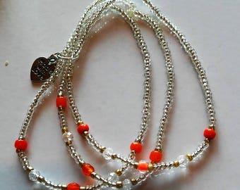 Orange and Clear Beaded Bracelet Set