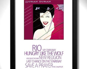 DURAN DURAN - RIO Album Limited Edition Unframed A4 Art Print with Song Titles