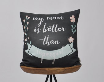 "Mothers Day Gift, Gift for Mom, Decorative Pillows, Throw Pillow, Cushion Cover, Floral Print, Home Decor 16"" x 16"""