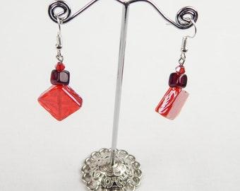 Red glass diamond earrings